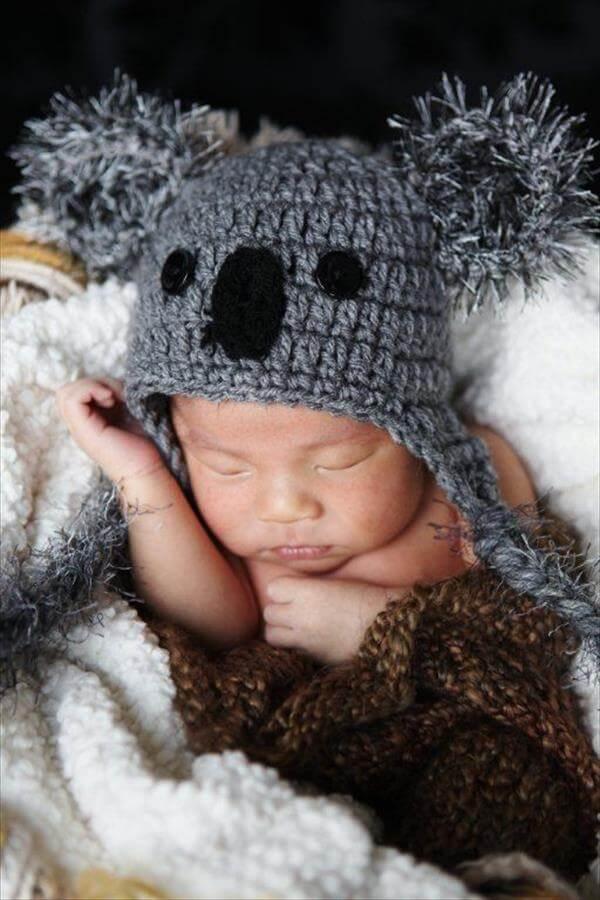 baby koala crochet hat pattern