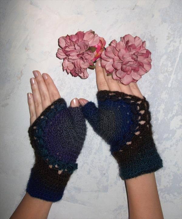 chic crochet fingerless gloves pattern