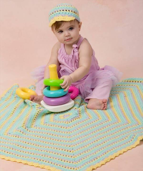 free hexagon crochet baby blanket patter
