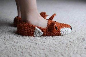 Crochet Fox Pattern Shoes