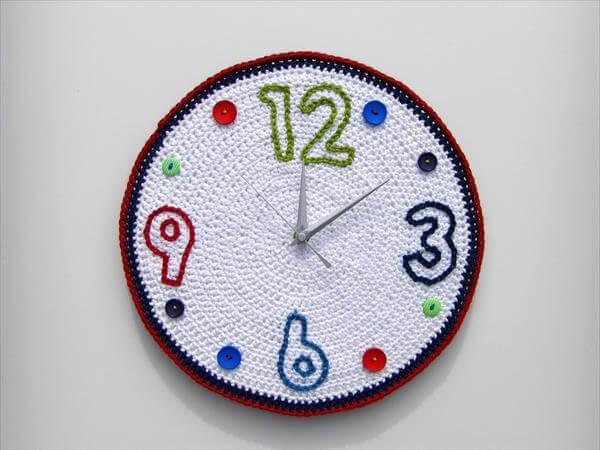 diy crochet wall clock