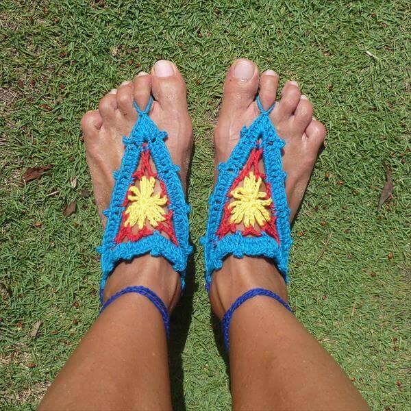 diy crochet barefoot sandals