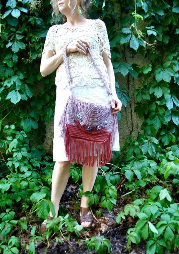 diy Bohemian crochet hand bag