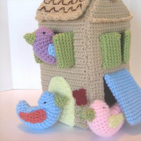 hand crocheted bird house pattern