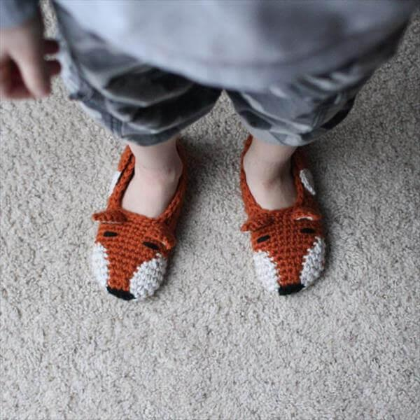 free crochet fox shoes pattern