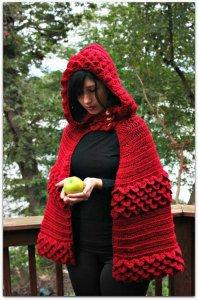 vintage crochet hooded cape