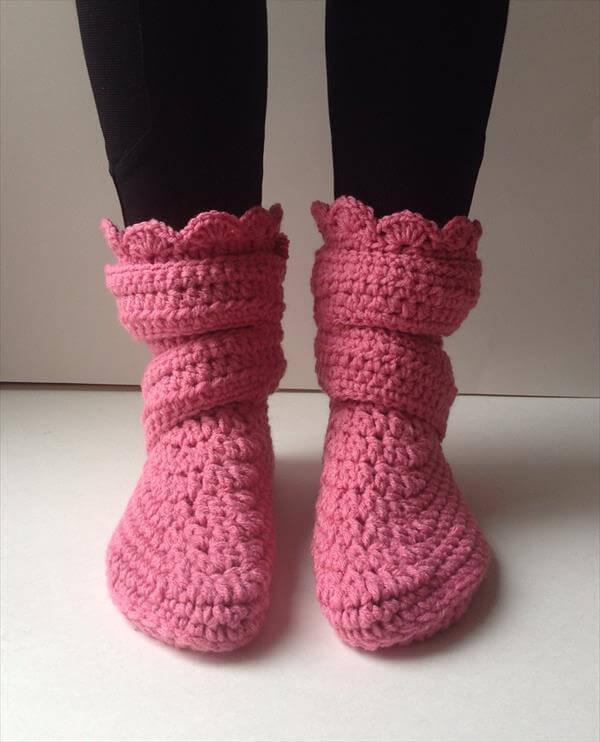 free women crochet slipper pattern