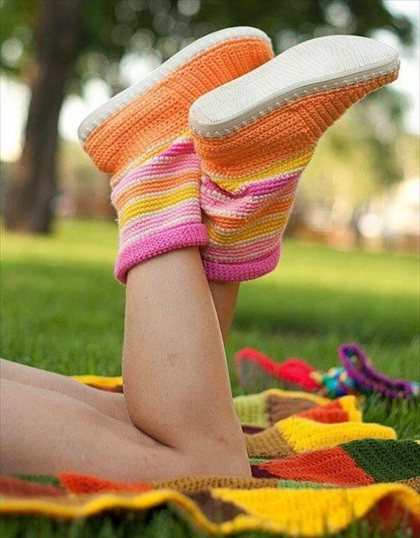 Bright color crochet slipper boots
