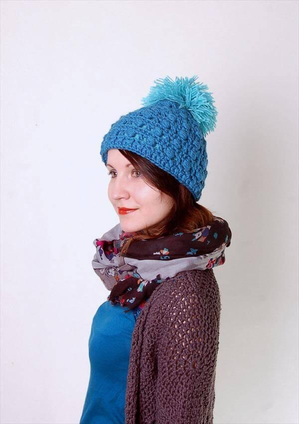 diy crochet pom pom hat pattern