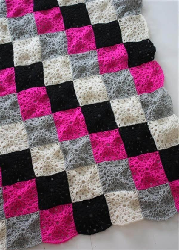 colorful square crochet baby blanket