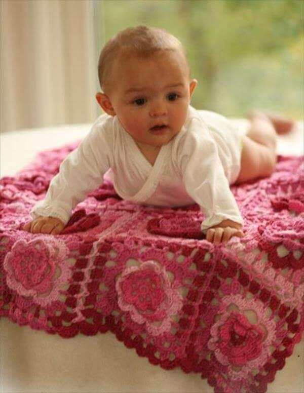 red rose crochet baby blanket