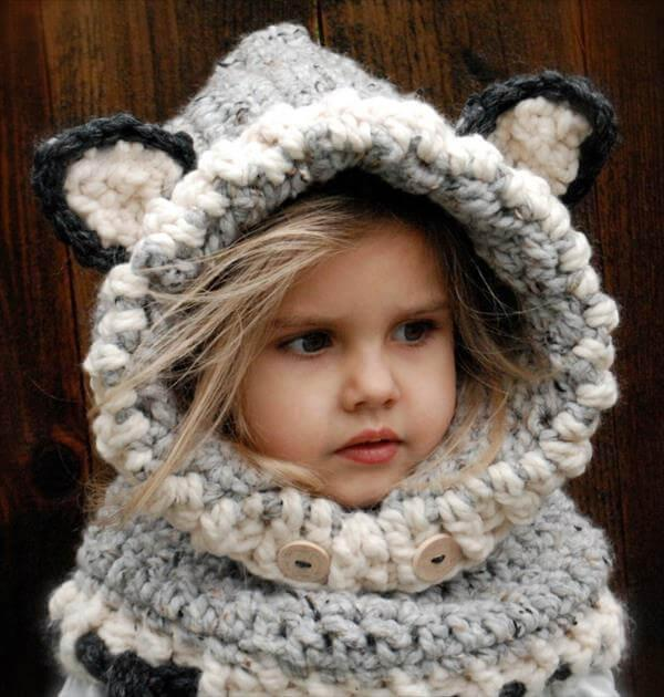 free baby crochet wolf cowl