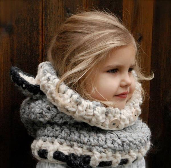 cute crochet wolf cowl baby pattern