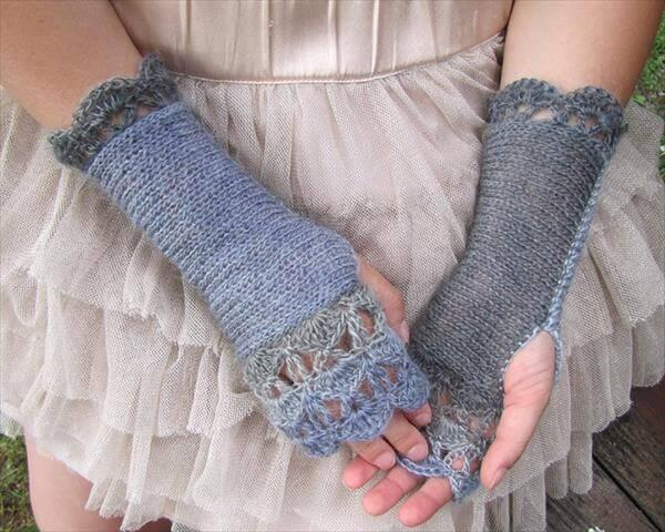 grey and charcoal black crochet fingerless gloves