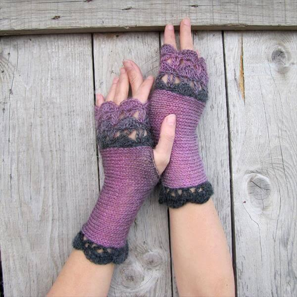 chic black and lavender crochet fingerless gloves