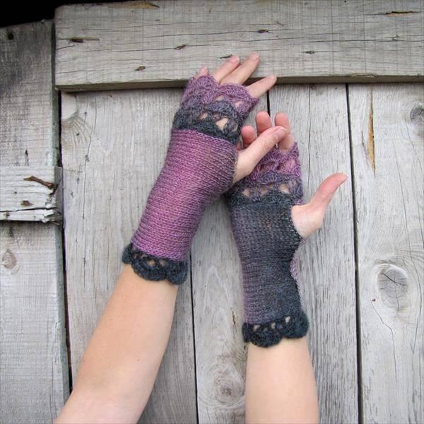 free crochet lavender and black fingerless gloves