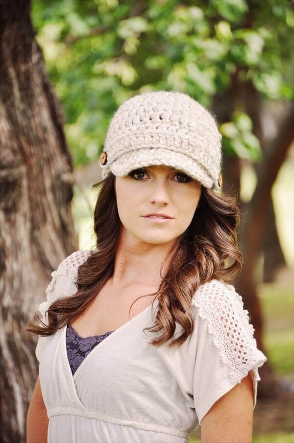 diy crochet newsboy hat pattern