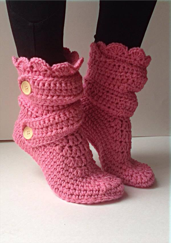 women winter crochet slipper pattern