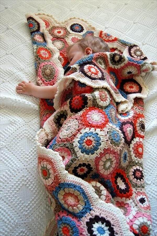 free cute hexagon crochet blanket pattern