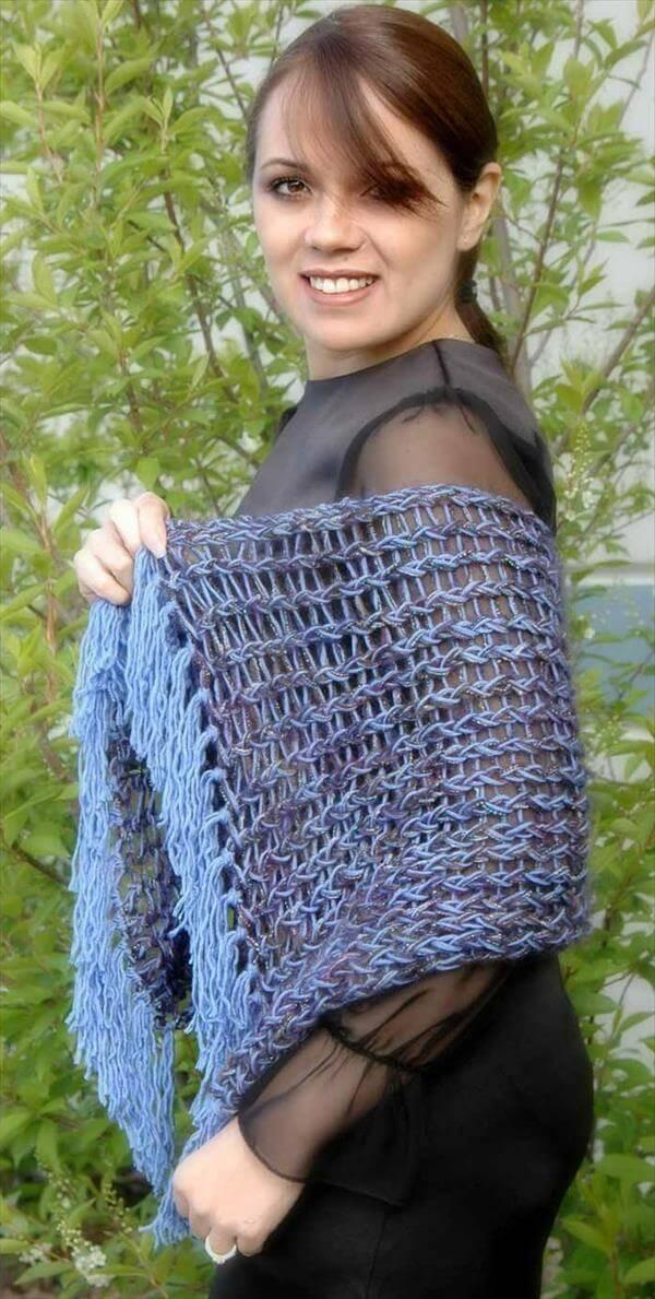 loom knitting crochet shawl pattern