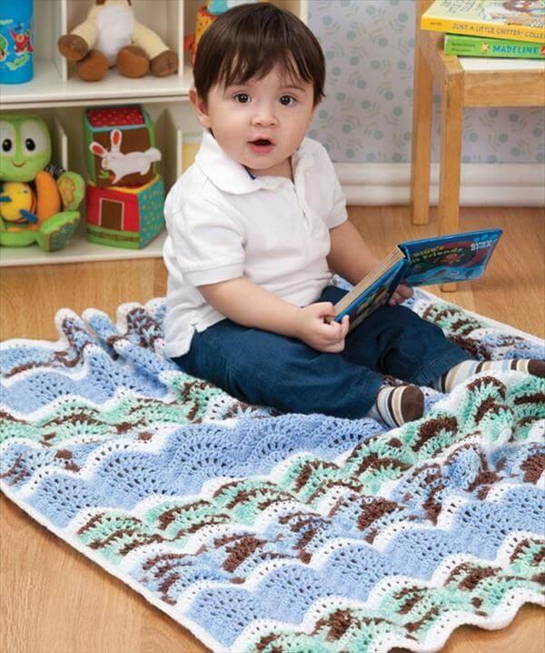 free ripple crochet baby blanket
