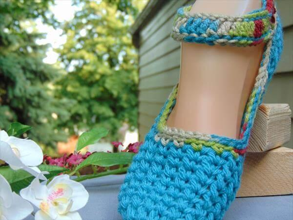 blue crochet women slippers