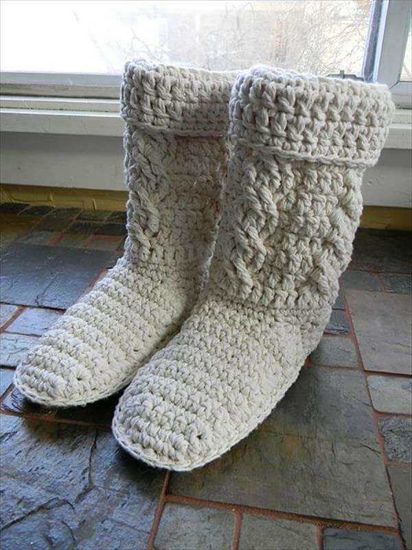 Crochet Boot Patterns in white color
