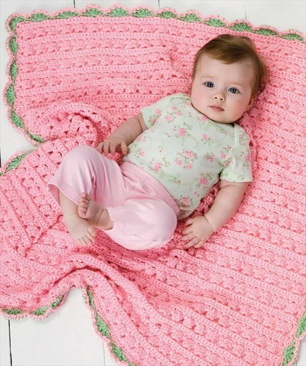 diy pink and and green edged crochet baby blanket