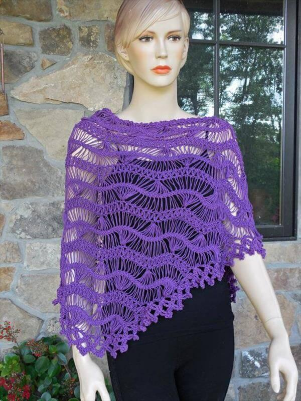 diy purple hairpin lace crochet shawl pattern