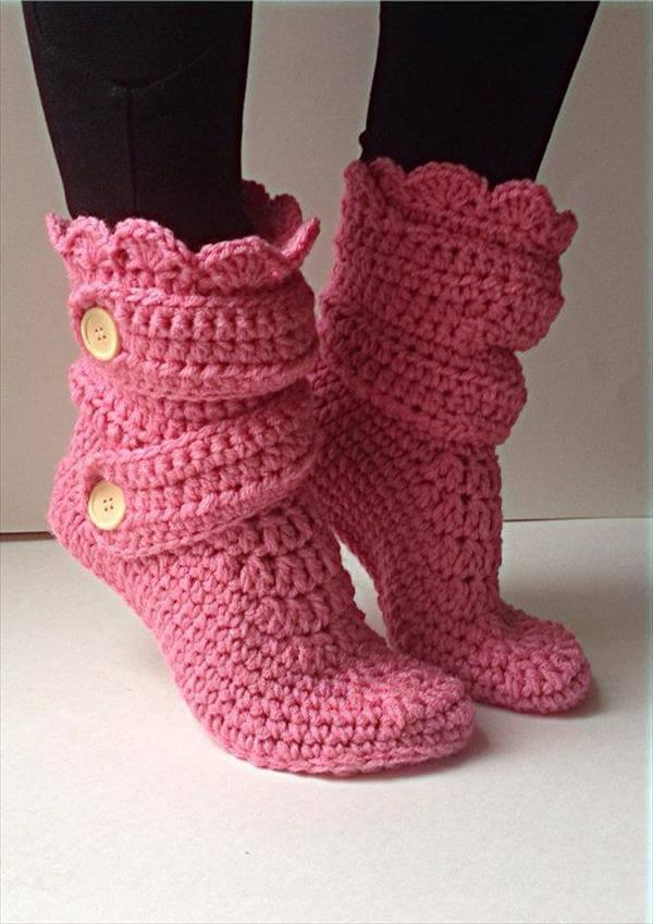 Easy Pink Crochet Slipper Pattern