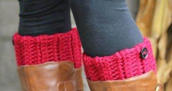 chic winter crochet boot cuffs