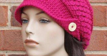 red crochet brimmed beanie pattern