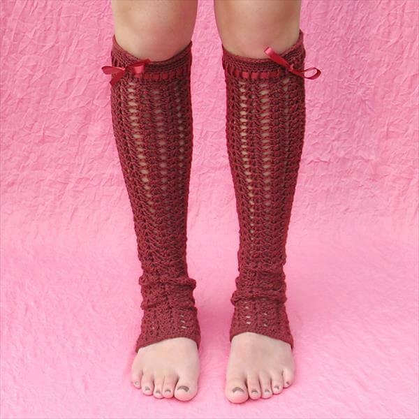 diy red crochet leg warmer pattern