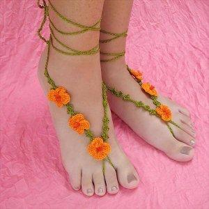 diy crochet poppy barefoot sandals