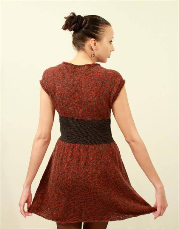 diy crochet red and black winter dress