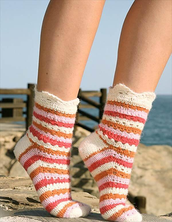 cricket stripes and lace socks pattern