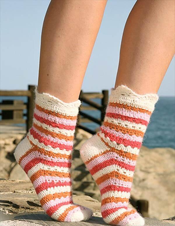 cricket stripes and lace socks pattern