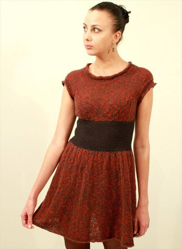 crochet red and black winter dress pattern
