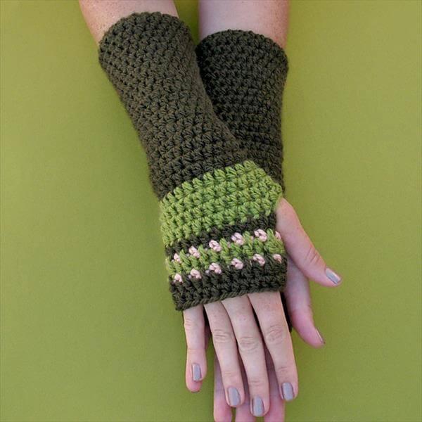 diy free crochet arm warmer pattern