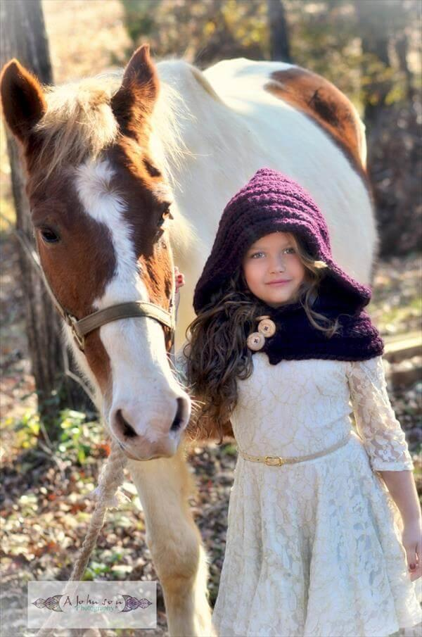 diy dark purple crochet hooded scarf