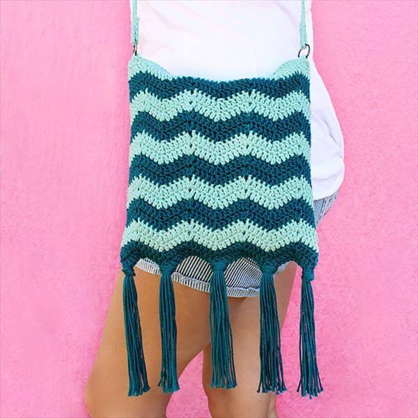 diy crochet tide fringe bag pattern