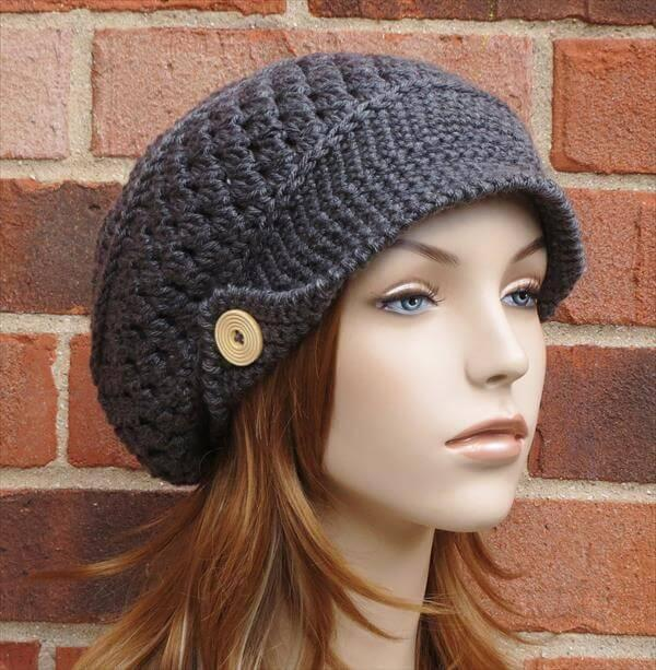 newsboy free crochet hat pattern