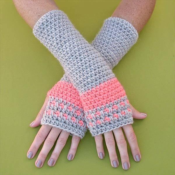 free crochet arm warmer pattern