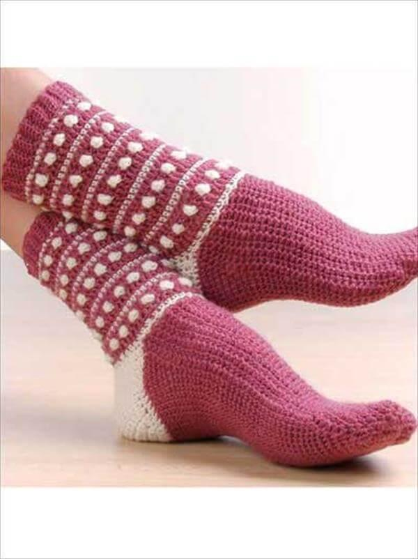 crochet polka dot socks pattern