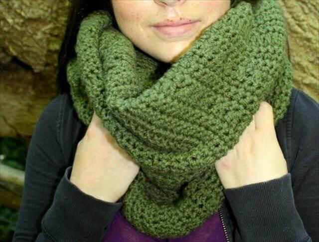White Crochet Infinity Scarf