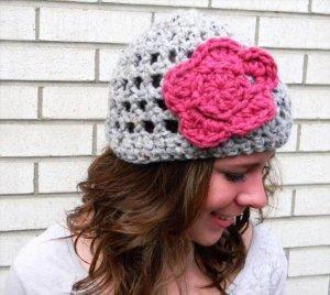 Crochet Hat Pattern with Flower for Women's