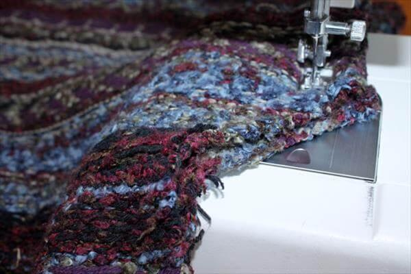 resewing the sweater for a crochet scarf pattern