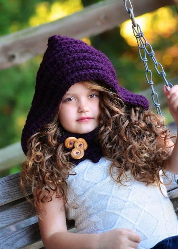Girls Cute Crochet Hooded Cowl 101 Crochet Patterns