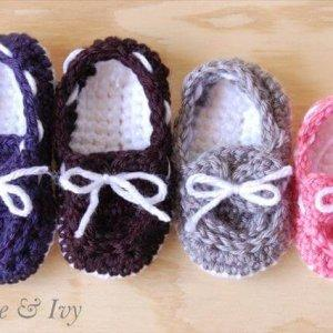 Crochet Baby Boat Booties Pattern
