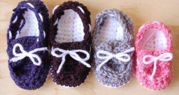 Crochet Baby Boat Booties Pattern